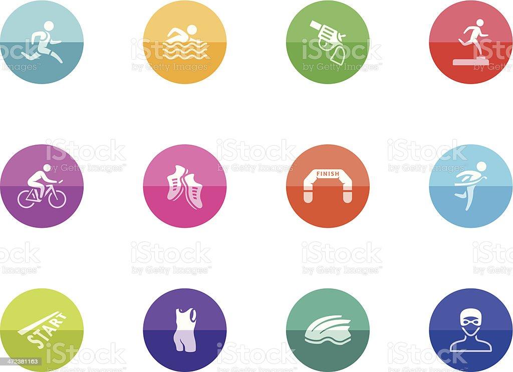 Flat Circle Icons - Triathlon royalty-free stock vector art