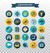 Flat circular construction icons. Web icons set - building, construction and home repair tools. Flat colored pictograms with long shadows.