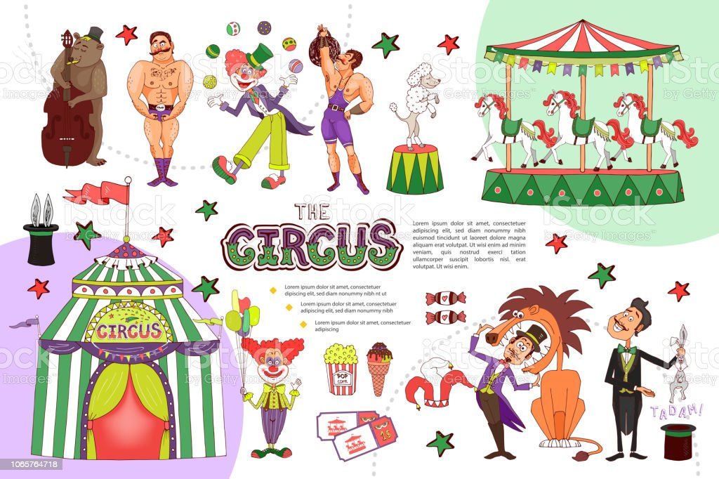 Flat Circus Composition vector art illustration