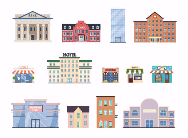 플랫 도시 건물입니다. 학교, 은행, 상점, 현대 사무실 센터, 병원 외관 및 시청 건물. - 호텔 stock illustrations