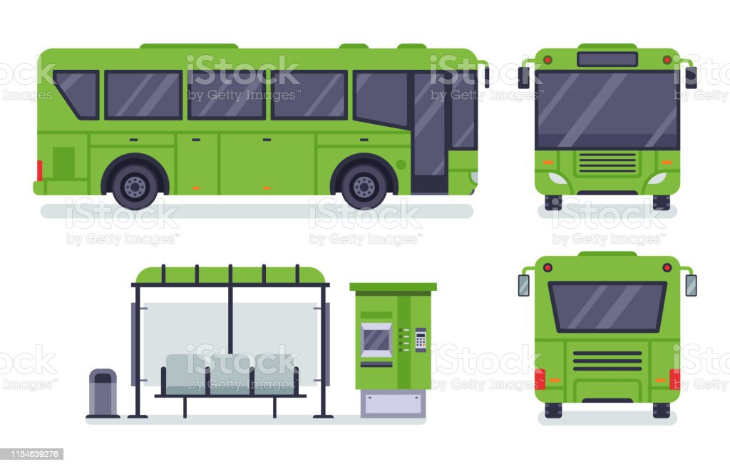 Flat city bus. Public transport stop, autobus ticket office and...