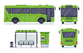 Flat city bus. Public transport stop, autobus ticket office and buses. City transportation, municipal or school bus. Vector illustration isolated icons set