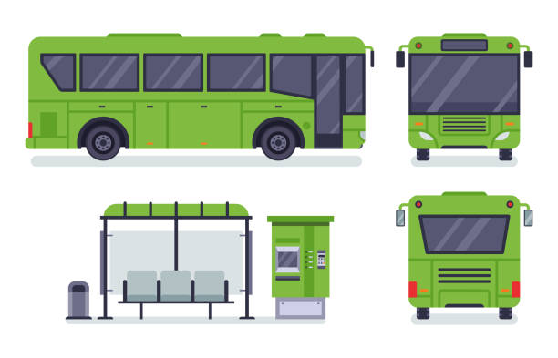 Flat city bus. Public transport stop, autobus ticket office and buses vector illustration set Flat city bus. Public transport stop, autobus ticket office and buses. City transportation, municipal or school bus. Vector illustration isolated icons set bus stock illustrations