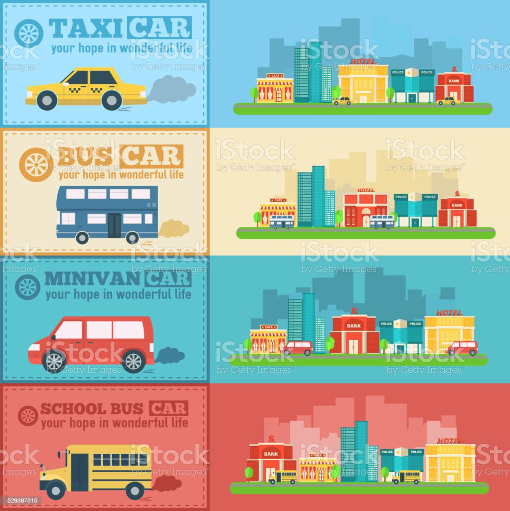 Flat city cars infographic banners traffic background concept vector art illustration
