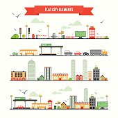 Flat city elements set