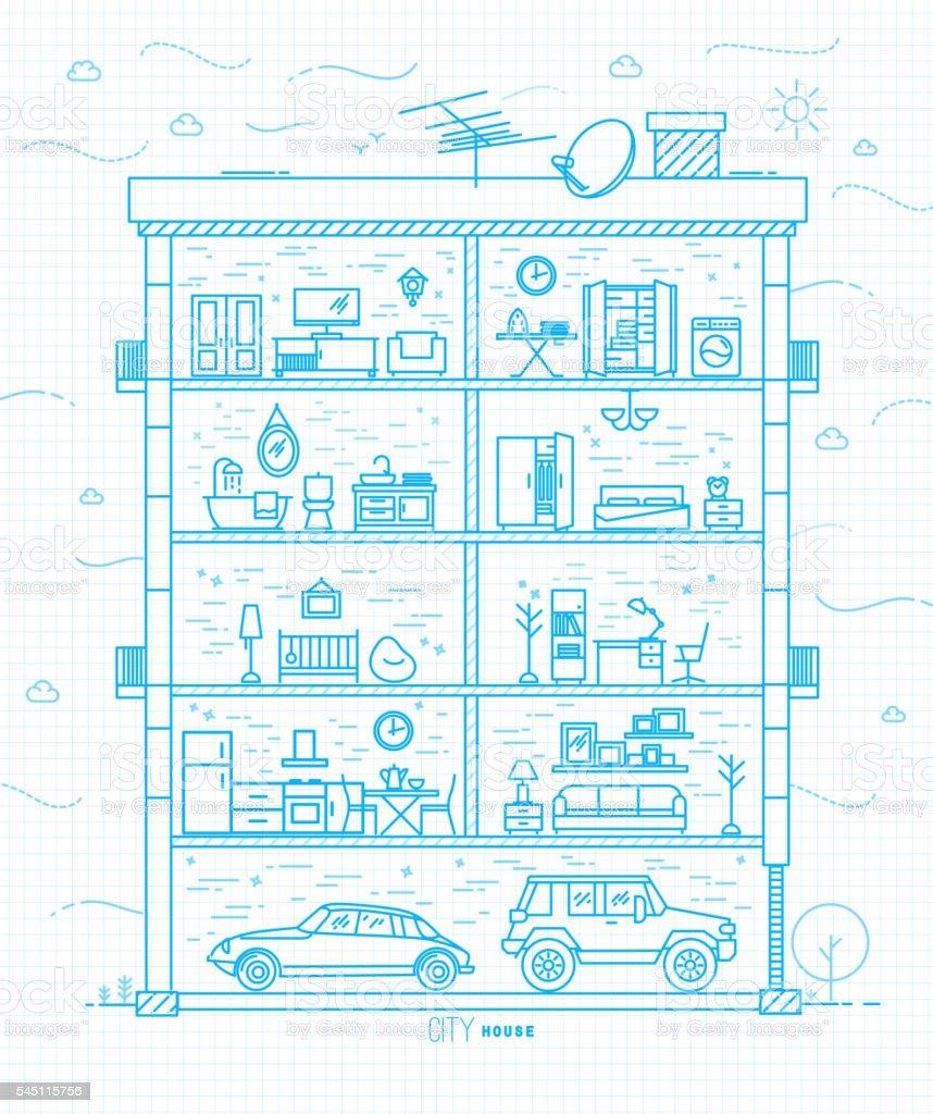 Flat city house silhouette blue vector art illustration