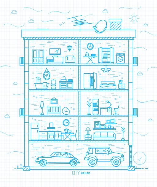 flat city house silhouette blue - waschküchendekorationen stock-grafiken, -clipart, -cartoons und -symbole
