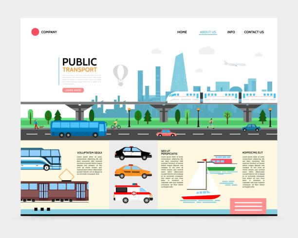 illustrations, cliparts, dessins animés et icônes de transports urbains de plat de modèle de page d'atterrissage - métro