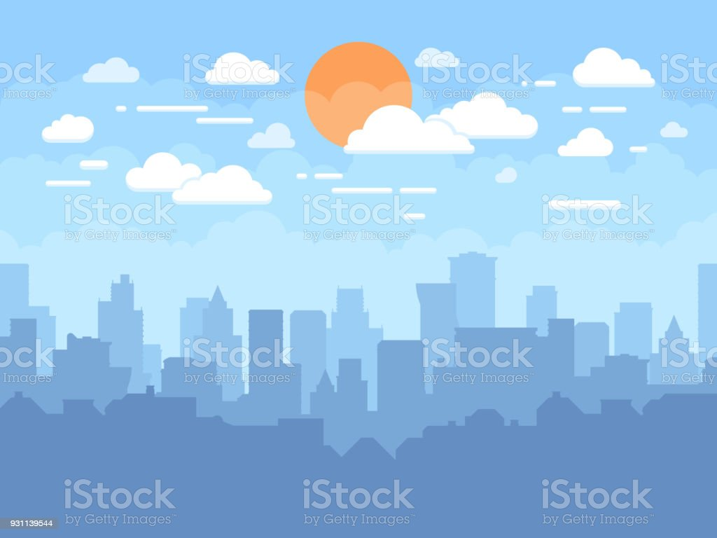 Flat cityscape with blue sky, white clouds and sun. Modern city skyline flat panoramic vector background - Векторная графика Абстрактный роялти-фри