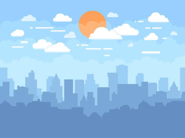 ilustraciones, imágenes clip art, dibujos animados e iconos de stock de plano paisaje con cielo azul, nubes blancas y sol. fondo de vector plano panorámico skyline ciudad moderna - ciudad