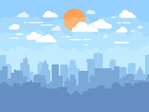 Flat Cityscape With Blue Sky White Clouds And Sun Modern City Skyline Flat Panoramic Vector Background — стоковая векторная графика и другие изображения на тему Абстрактный
