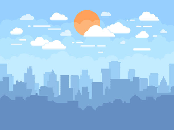 Flat cityscape with blue sky, white clouds and sun. Modern city skyline flat panoramic vector background Flat cityscape with blue sky, white clouds and sun. Modern city skyline flat panoramic vector background. Urban city tower skyline illustration town stock illustrations