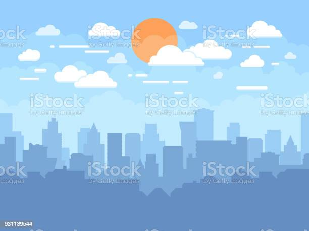 Flat Cityscape With Blue Sky White Clouds And Sun Modern City Skyline Flat Panoramic Vector Background - Arte vetorial de stock e mais imagens de Abstrato