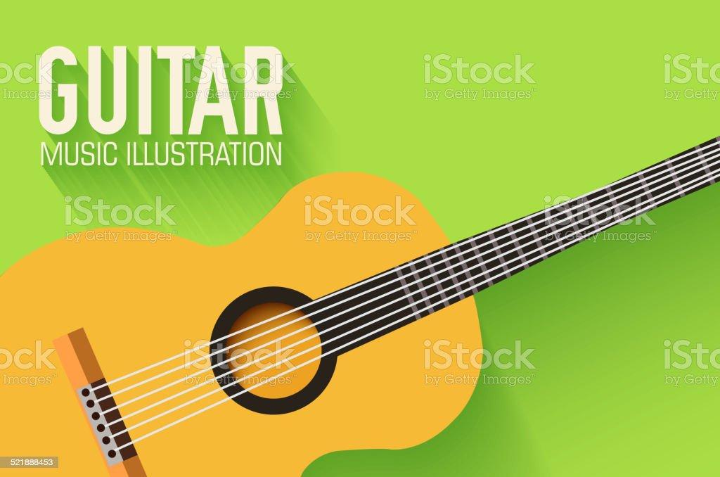 Ilustración de Flat Vector Fondo Del Concepto De Guitarra Clásica y ...