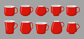 Set of cup for drinks, coffee container different type. Classic tea red mugs mockup, empty icon set. Flat cartoon style with space for labels. Template for design logo shop, menu Vector illustration