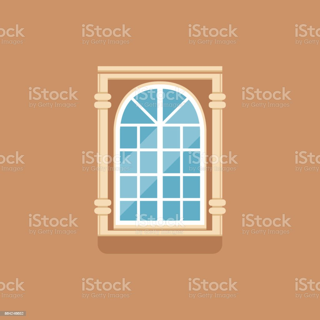 Flat classical arched window with decorated facade royalty-free flat classical arched window with decorated facade stock vector art & more images of art