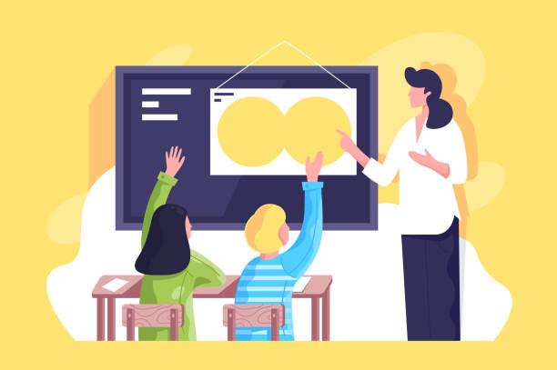 ilustrações, clipart, desenhos animados e ícones de a sala de aula lisa com professor da mulher nova e escolares entregam. - professor