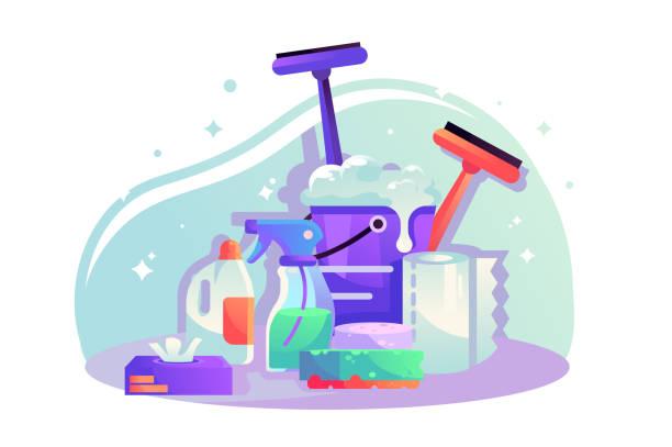 illustrazioni stock, clip art, cartoni animati e icone di tendenza di flat cleaning items with spray, napkins, sponge, bucket with detergent. - cameriera