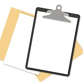 Flat clipboard with paper sheets on desk. Vector illustration