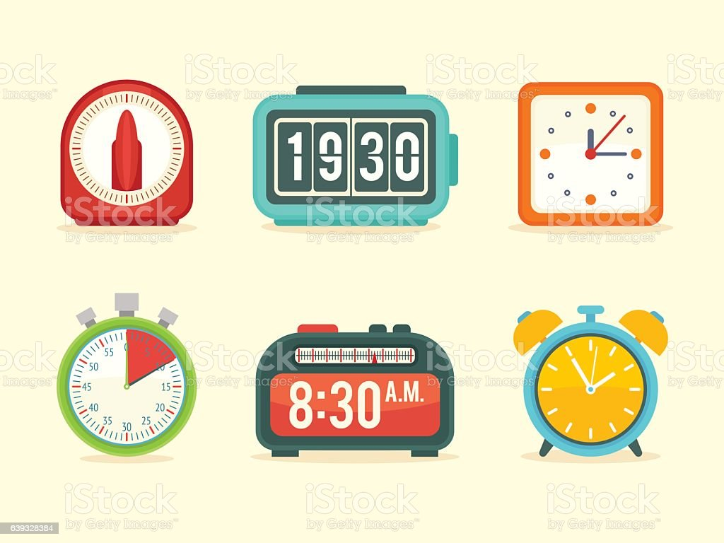 Flat clock icons set with digital and analog displays vector art illustration