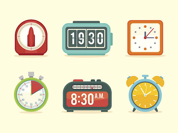 Flat clock icons set with digital and analog displays vector art illustration