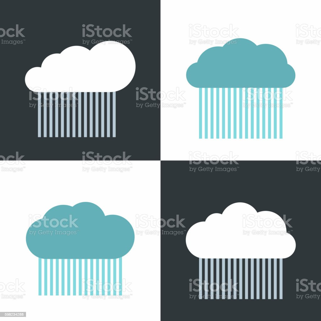 Flat cloud icons with rain on white and dark background ilustração de flat cloud icons with rain on white and dark background e mais banco de imagens de branco royalty-free