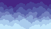 Vector Illustration of a beautiful Flat Abstract Clouds Sky Design Background