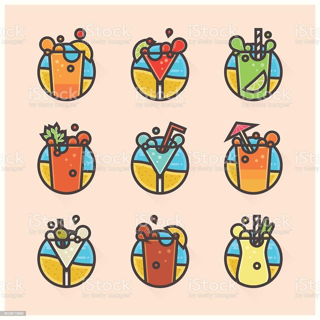 flat cocktails ikons vector art illustration