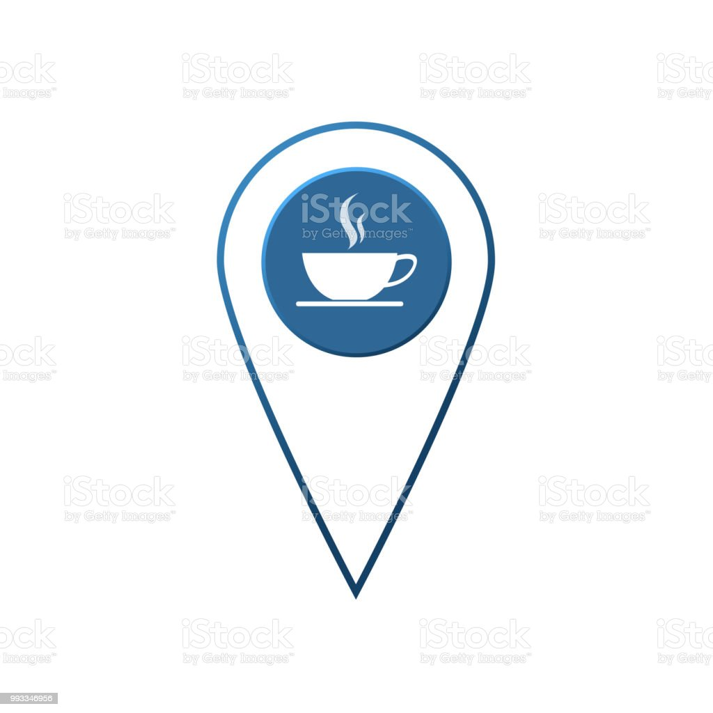 Flat Coffee Location Label Vector Design Check In Coffee Shop And