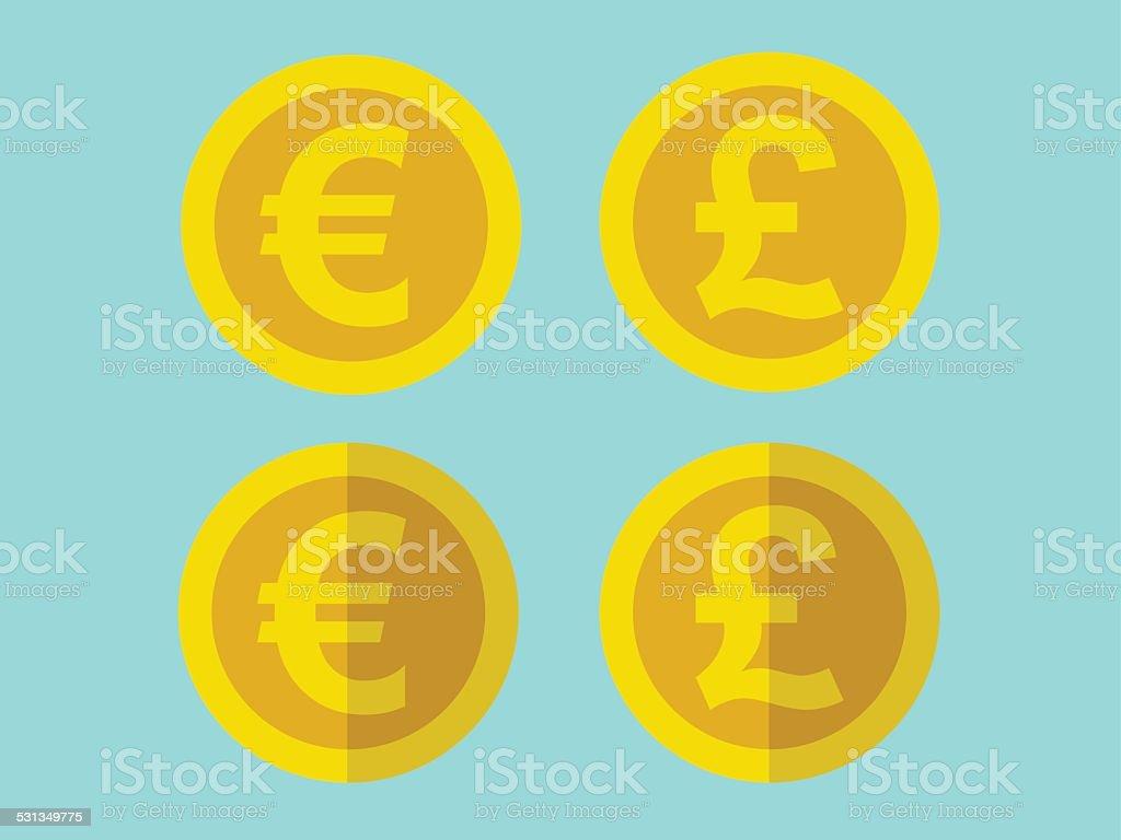 Flat Coins vector art illustration