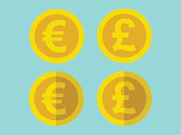 монеты на плоской подошве - символ фунта stock illustrations