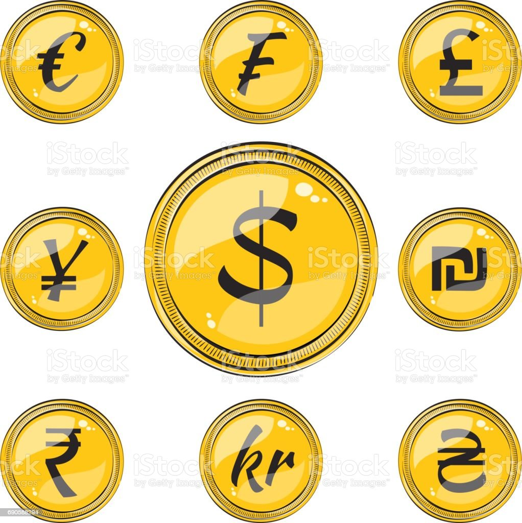Flat coins with currency symbols stock vector art more images of flat coins with currency symbols royalty free flat coins with currency symbols stock vector art biocorpaavc Image collections