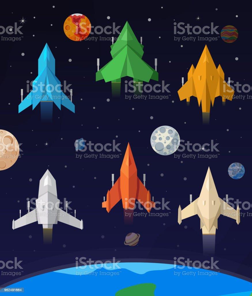 Uzay Gemisi Duz Toplulugu Oyunlar Uzay Gemisi Stok Vektor Sanati