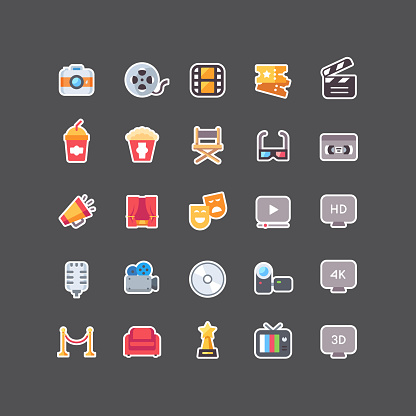 Flat Color Cinema Sticker Icons