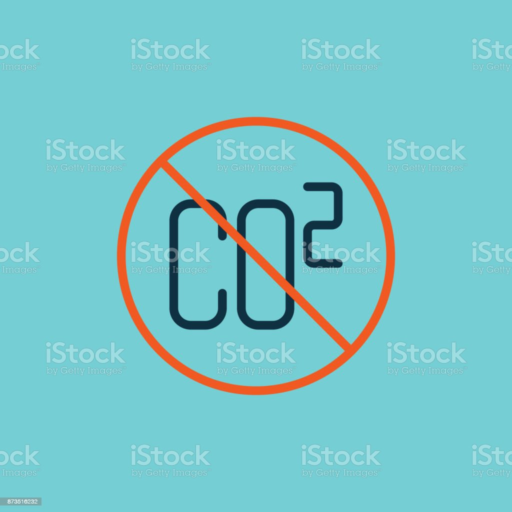 flat color co2 prohibited sign vector art illustration