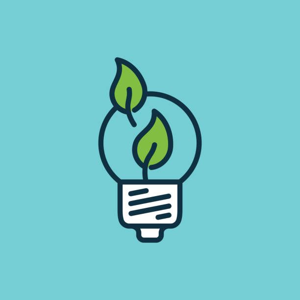 flat color efficient light bulb icon - energy saving stock illustrations, clip art, cartoons, & icons