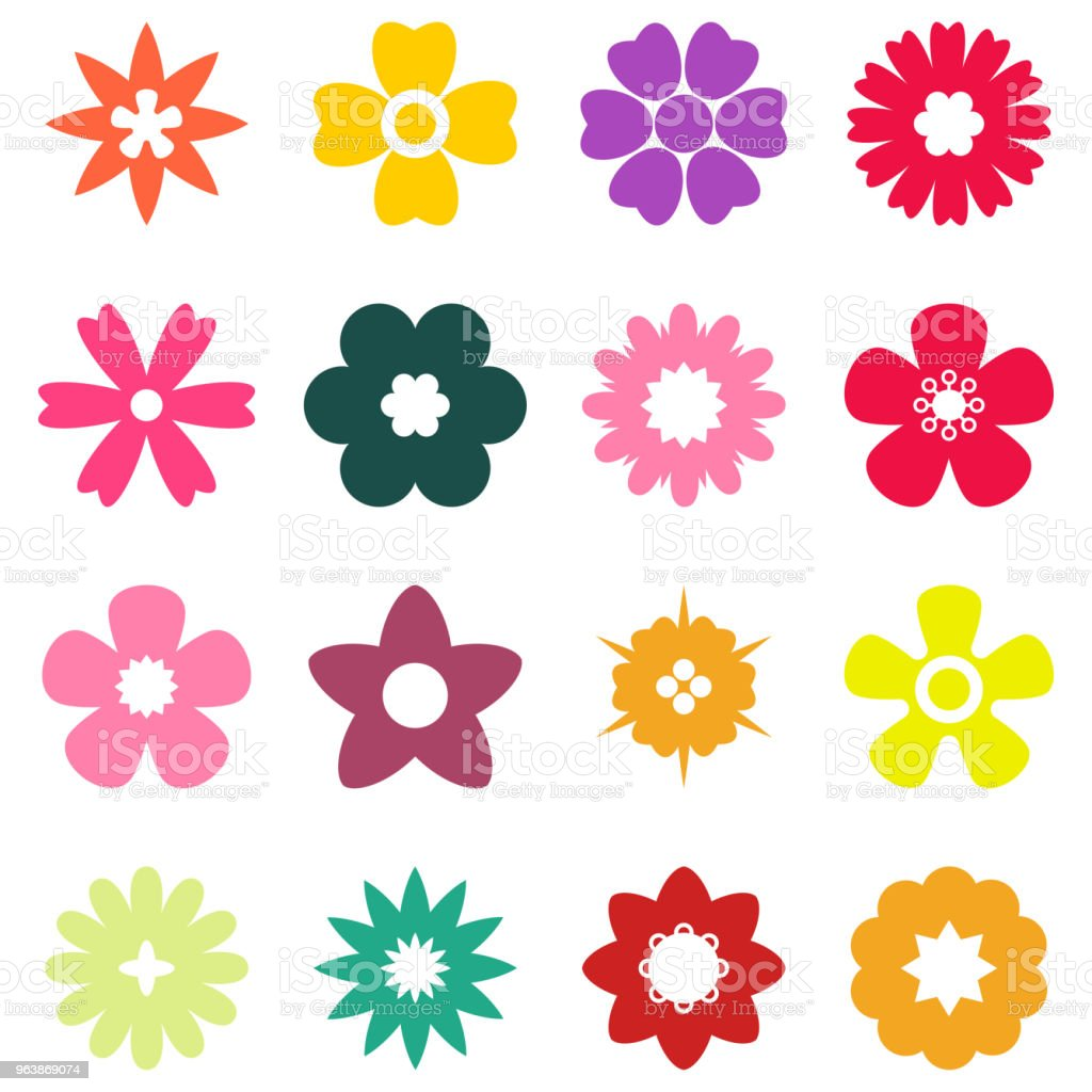 flat color flower set - Royalty-free Art stock vector