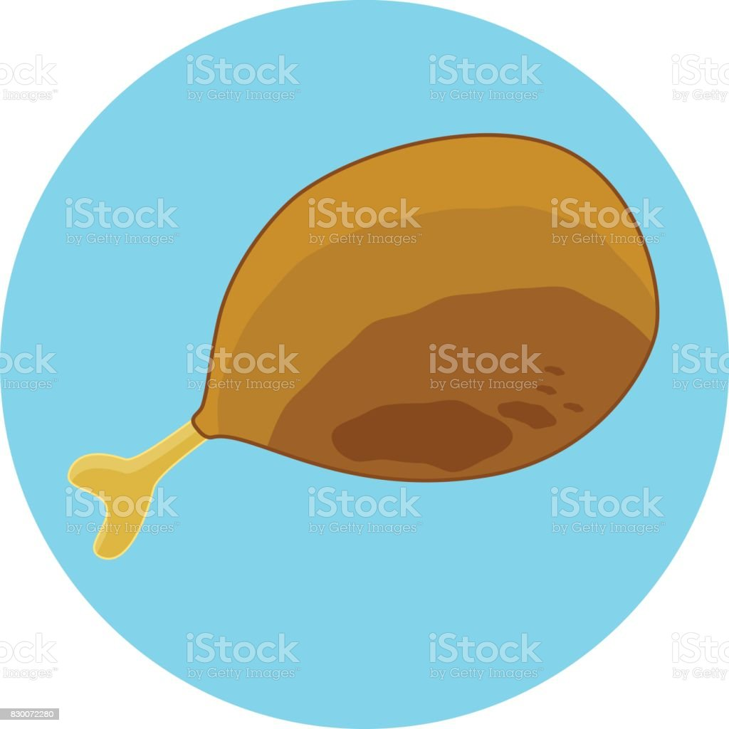 Flat color fried chicken thigh icon, isolated fry chicken leg vector art illustration