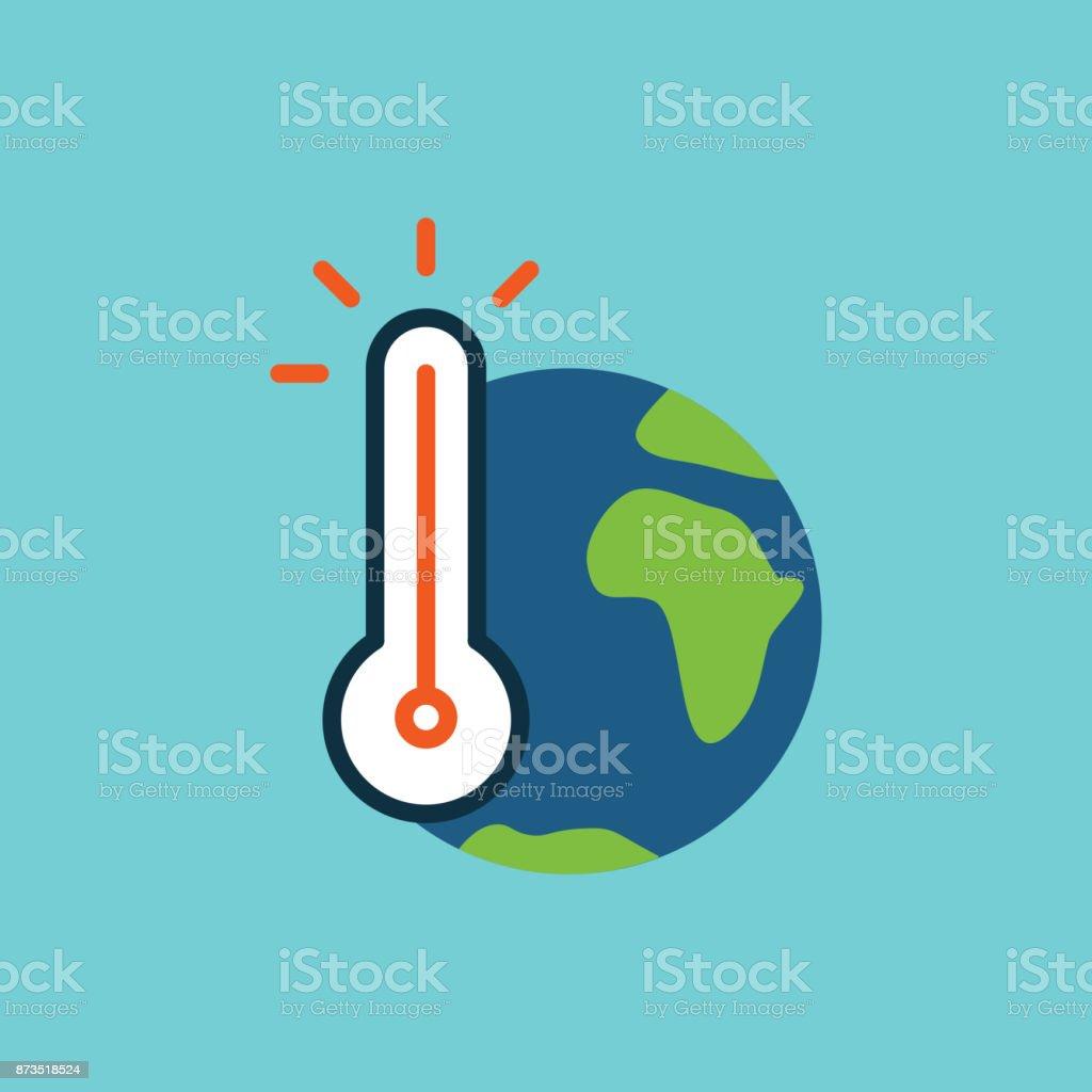 Flat färgikonen globala uppvärmningen - Royaltyfri Azerbajdzjan vektorgrafik