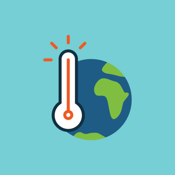 illustrazioni stock, clip art, cartoni animati e icone di tendenza di flat color global warming icon - climate change