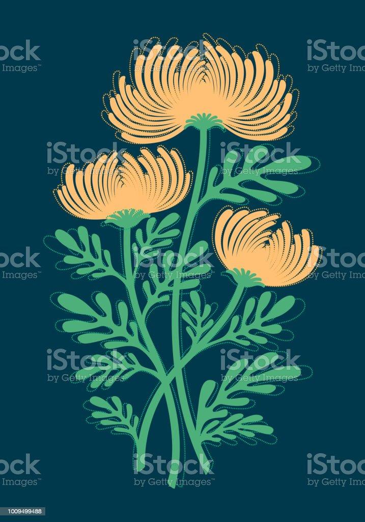 Graphique De Plat Couleur De Dessin Dun Bouquet De Fleurs
