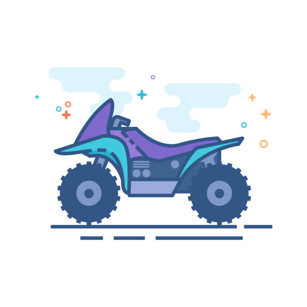 Flat Color Icon - All terrain vehicle All terrain vehicle icon in outlined flat color style. Vector illustration. quadbike stock illustrations
