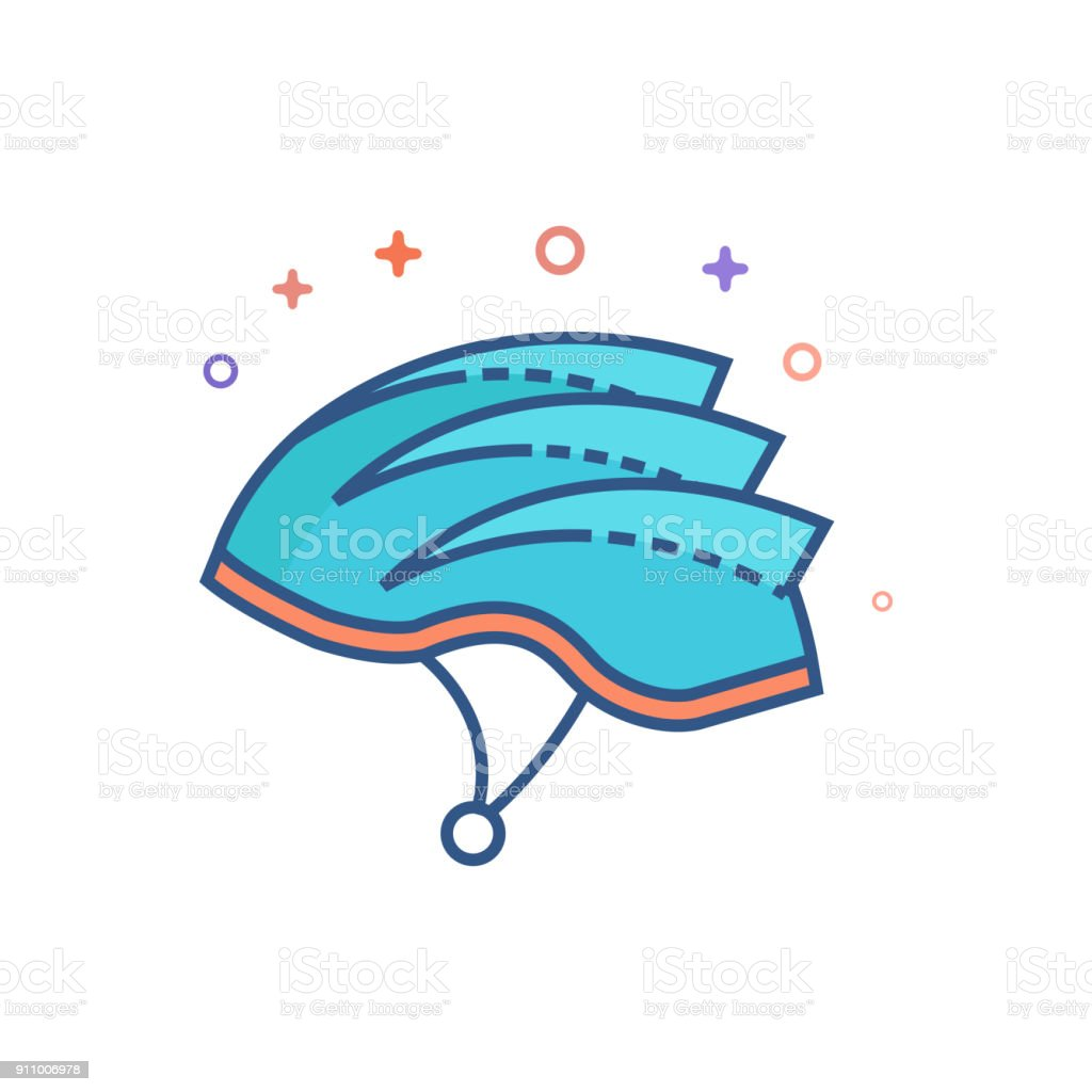 Flat Color Icon - Bicycle helmet vector art illustration