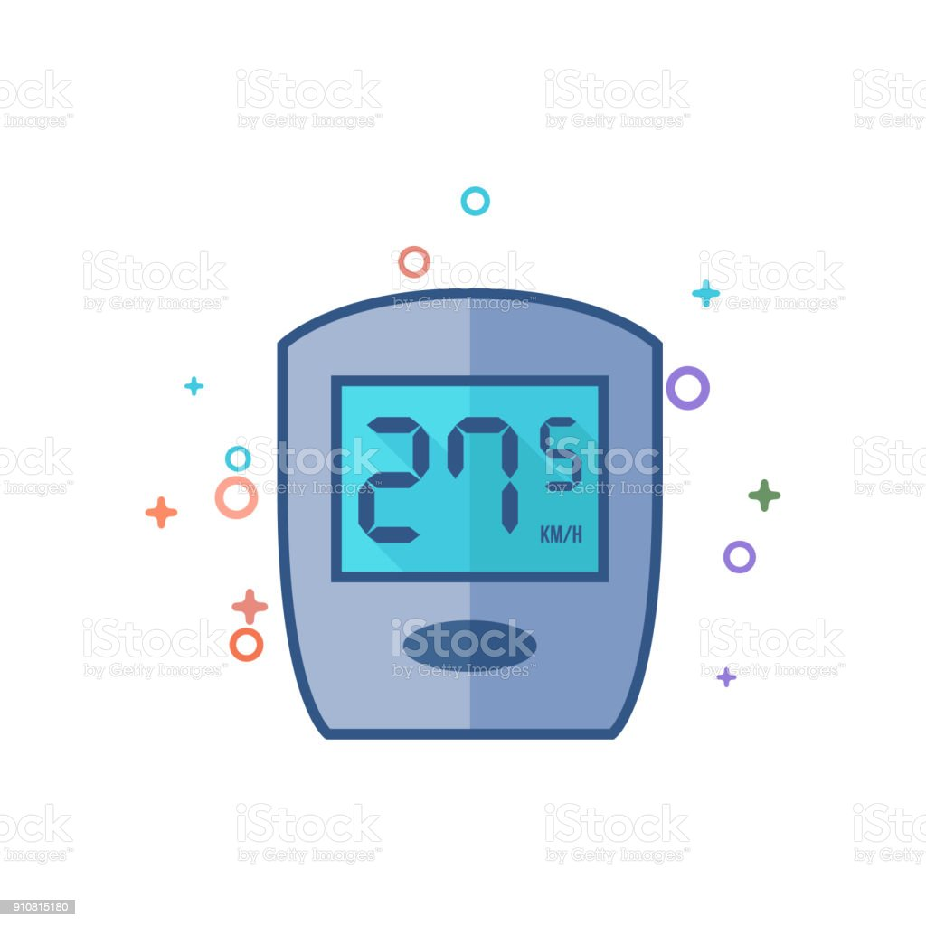 Flat Color Icon - Cycle computer vector art illustration