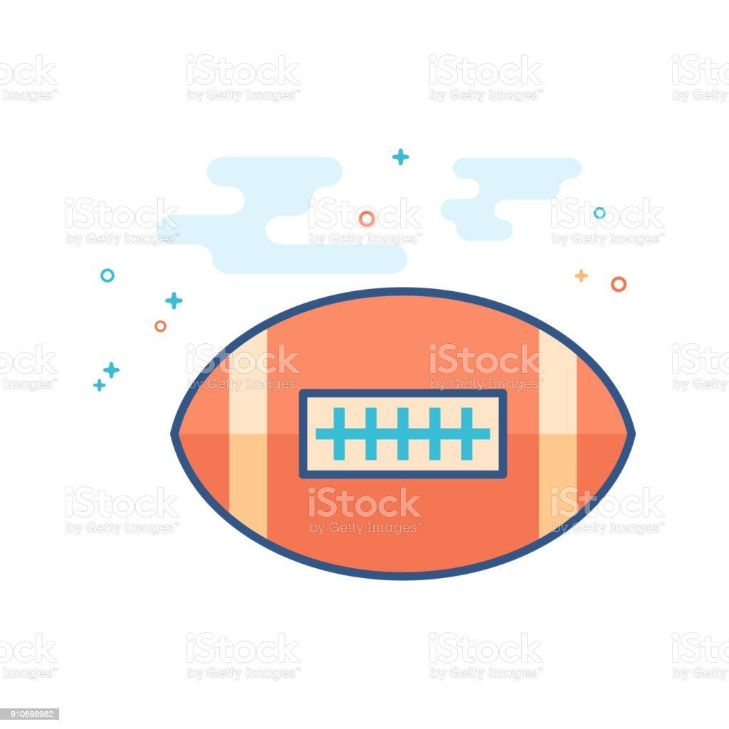 Flat Color Icon - Football vector art illustration