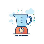 Juicer icon in outlined flat color style. Vector illustration.
