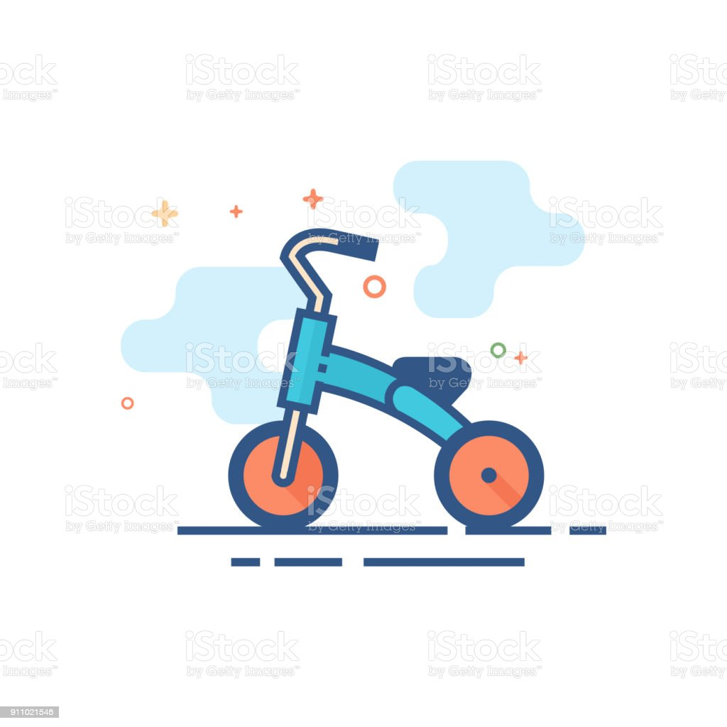 Flat Color Icon - Kids tricycle vector art illustration