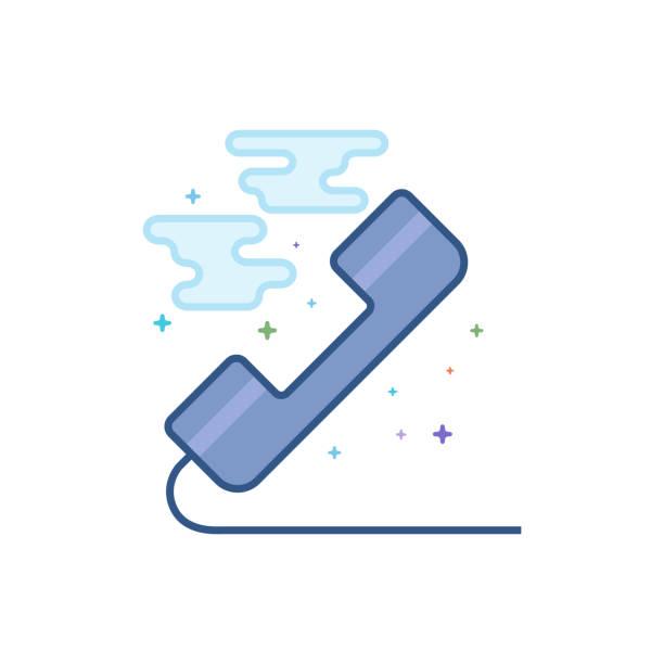 Flat Color Icon - Landline telephone vector art illustration