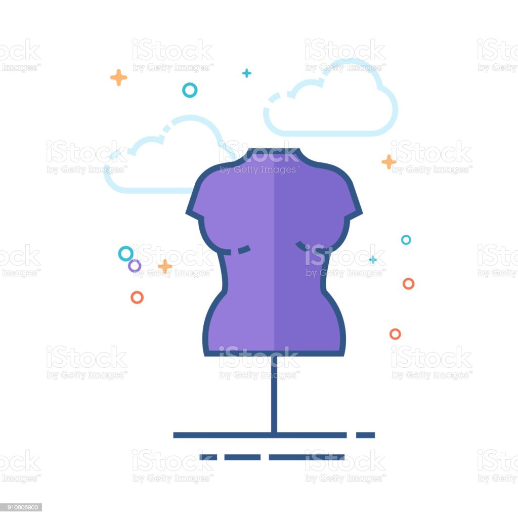 Flat Color Icon - Mannequin vector art illustration