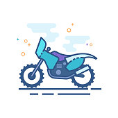 Motocross icon in outlined flat color style. Vector illustration.